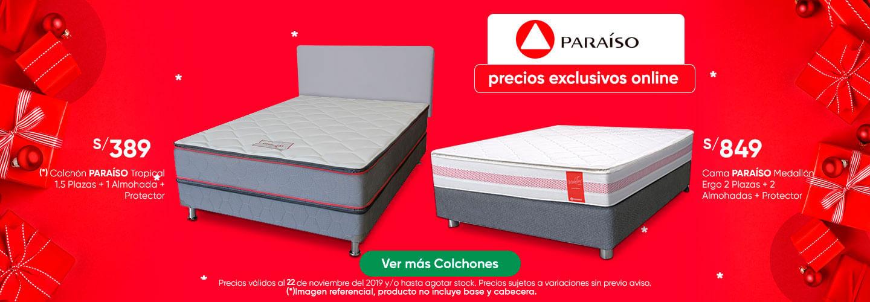 Colchon PARAISO Tropical 1.5 Plz Cama PARAISO Medallon Ergo 2 Plz