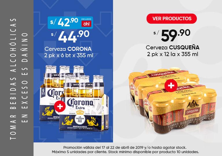 Cerveza corona y cusquena