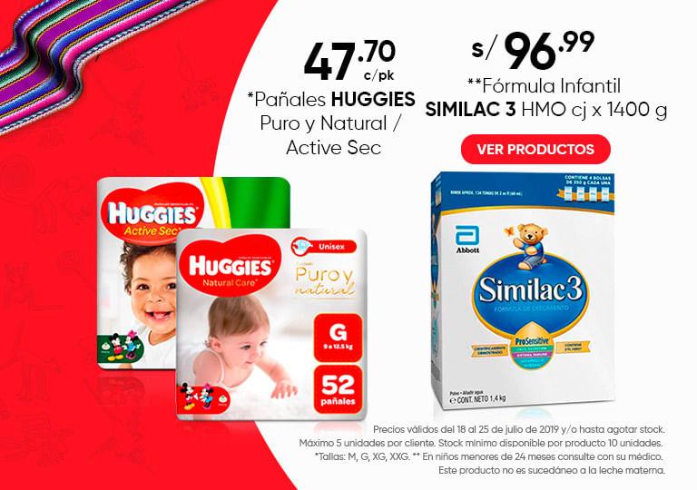 Panales HUGGIES Puro y Natural y Formula SIMILAC