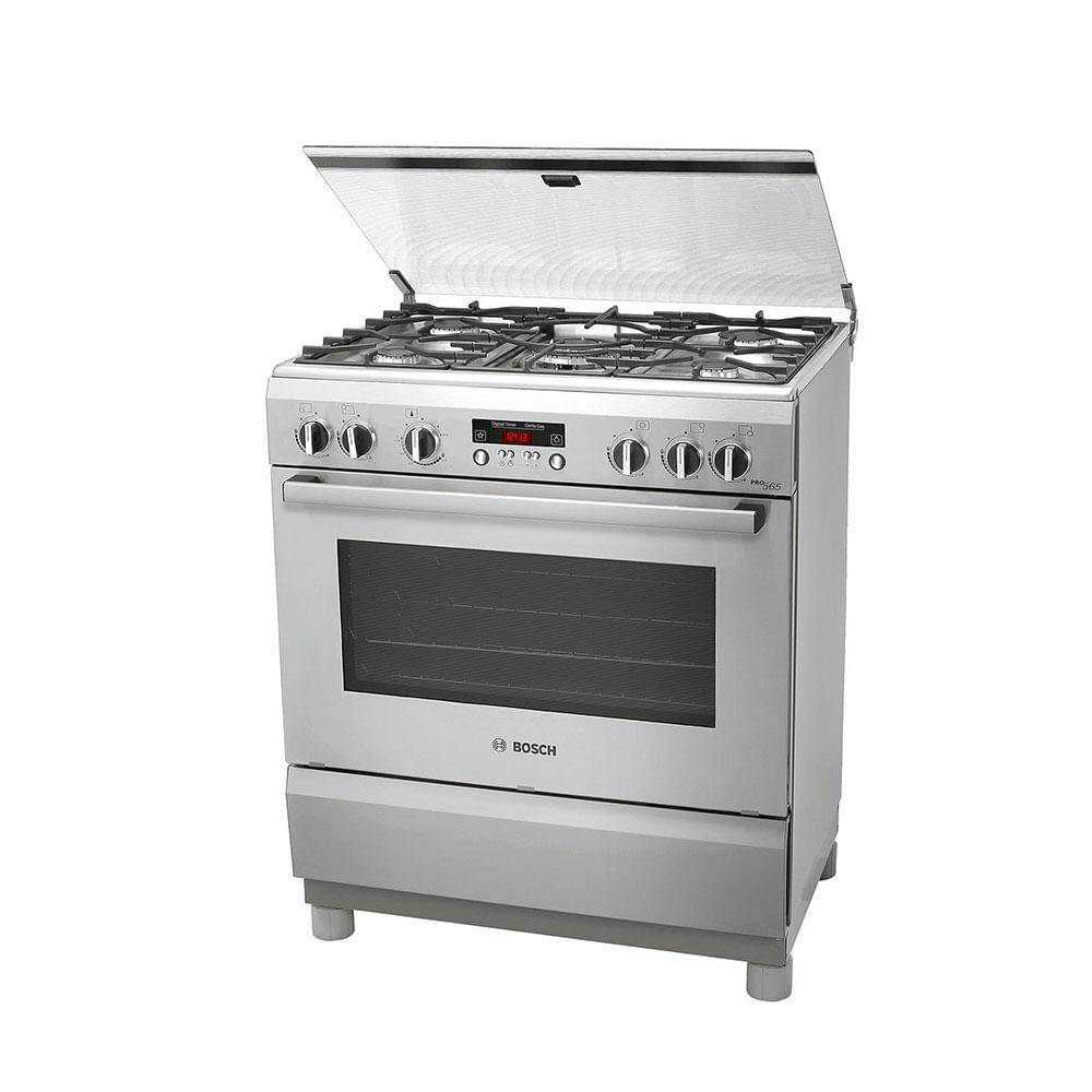 Cocina a gas bosch 5 quemadores pro565 plateado plazavea for Cocina de gas profesional