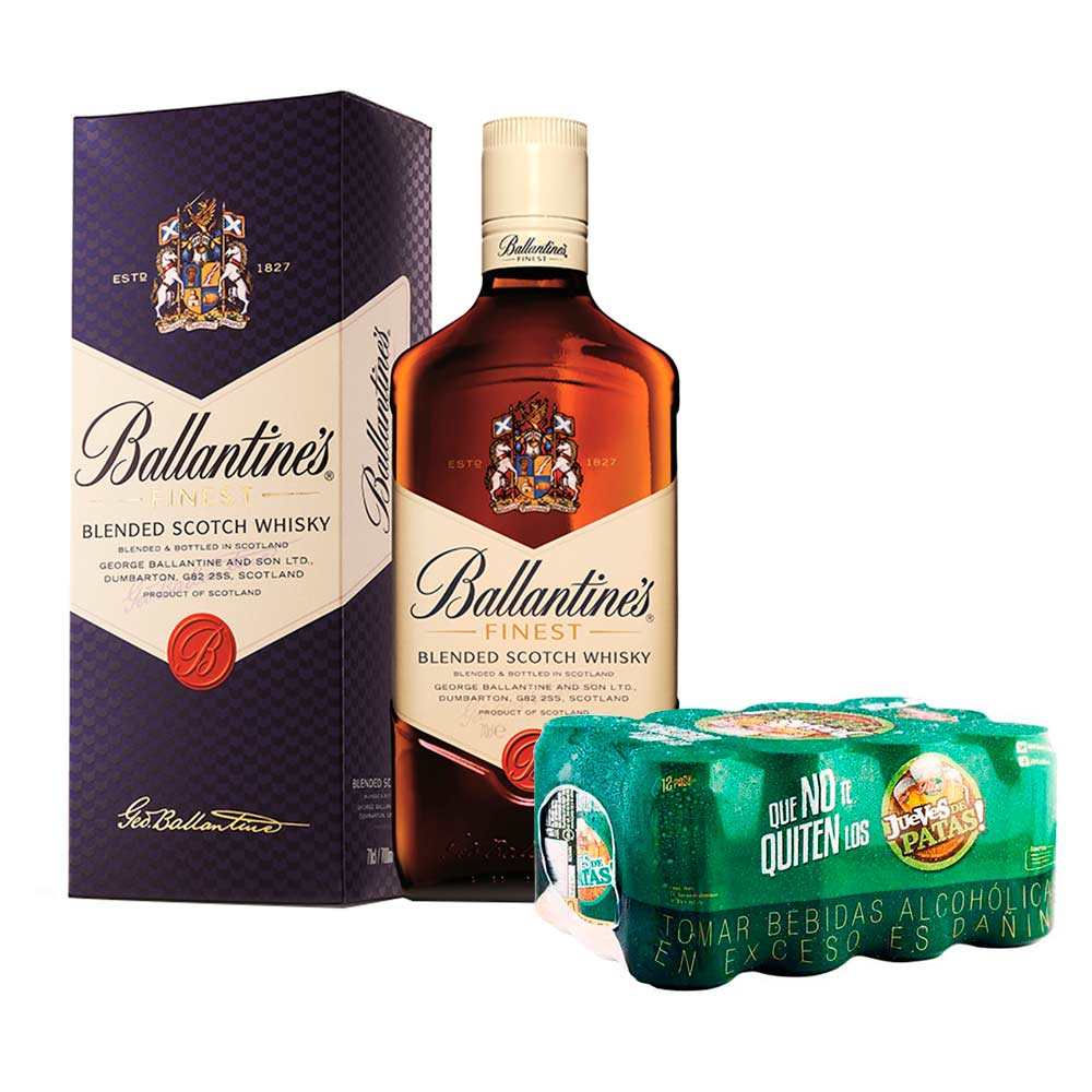 Whisky Ballantine S Finest Botella 750ml Cerveza Pilsen Paquete  # Muebles Para Guardar Whisky
