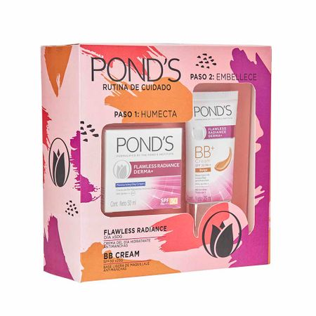 estuche-ponds-flawless-radience-crema-hidratante-pote-50g-base-de-maquillaje-tubo-25ml