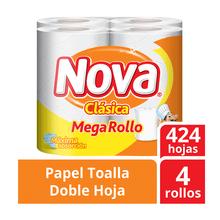 Papel Toalla Nova Clásica Mega Rollo Paquete 4...