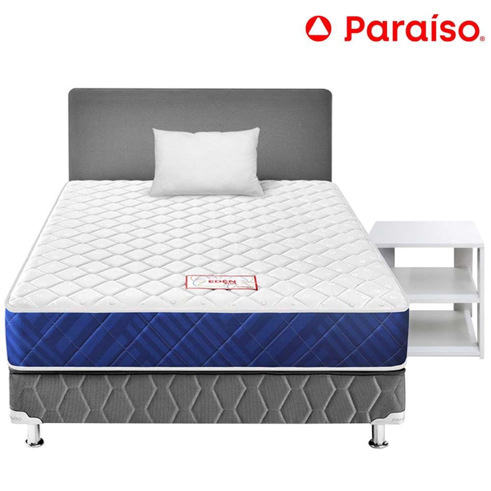 Dormitorio PARAÍSO Edén 1.5 Plazas + Mesa de Noche Madera