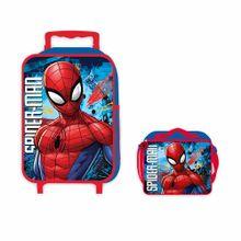 set-artesco-spiderman-maleta-con-ruedas-lonchera