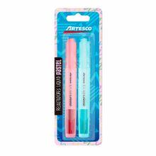 resaltadores-artesco-liquid-pastel-rosado-celeste-blister-2un