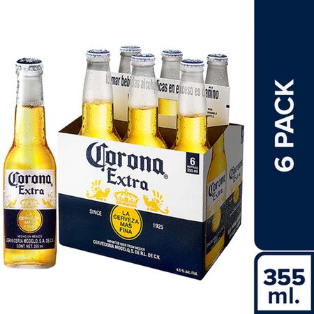 Cerveza Corona Extra 6 Pack Botella 355ml Plazavea Supermercado