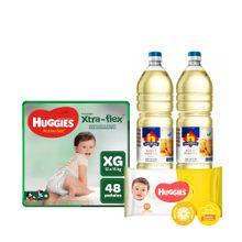 pack-huggies-panales-active-sec-talla-xg-paquete-48un---toallitas-humedas-classic-paquete-80un---aceite-vegetal-nicolini-botella-1l-2un